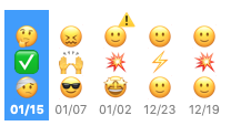 Screenshot of Digamo's emoji timeline